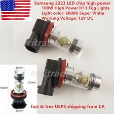 2PCS 6000k Super White H11 H8 Fog Light SAMSUNG 2323 LED 100W Driving Bulb US