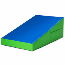 Incline Wedge Ramp Mat Indoor Gym Exercise Mat Fitness Tumbling Blue & Green