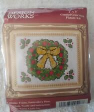 """Counted Cross Stitch Wreath Picture Kit w/frame, 2""""x 3"""""""