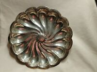 """Vintage Antique silver plated candy/fruit Nut bowl Scalloped Flower Shaped 11"""""""