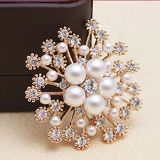 Design Brooch Pin Jewelry Jian Luxurious Faux Pearl Snowflake Flower Rhinestone