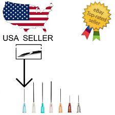 Needles Box 50 or 100 All Size Gauges - Blunt Luer Lock No Syringe 31g-32g Sharp