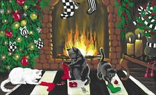 PRINT OF PAINTING CHRISTMAS TREE STOCKING FOLK ART RYTA BLACK CAT VINTAGE STYLE