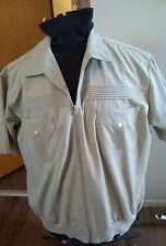 394 J. BLAIR MEN'S XL ZIPPER ZIP UP FRONT BEIGE SHORT SLEEVE SHIRT FRONT POCKETS
