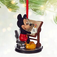 Disney Store Mickey Mouse Sketch Art Animator Christmas Ornament Figure NWT