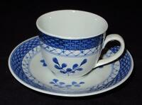 Royal Copenhagen TRANQUEBAR BLUE Demitasse Cup & Saucer Set, Faience