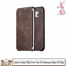 Genuine Leather Case Thin Folding Wallet Stand Cover For Samsung Galaxy S6 Edge