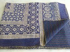 Indian Hand Block Kantha Quilt Handmade Cotton Boho Bedding Bedspread Queen Size