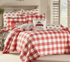 Levtex Road Trip 3-Piece Quilt Set QUEEN Red & White Buffalo Plaid Reversible