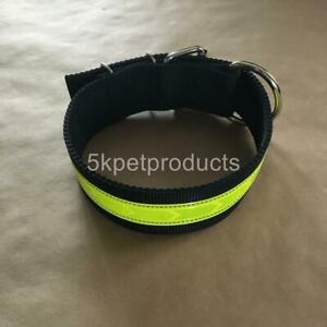 """LARGE DOG COLLAR 2"""" DOUBLE PLY HEAVY DUTY LARGE REFLECTIVE DOG COLLAR USA MADE"""