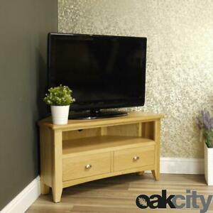 Oak Corner TV Unit   90cm Fully Assembled Storage Stand   Light Wood Tone