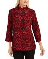 JM Collection Womens Jacket Black Size XXL Textured Jacquard 3/4-Sleeve $69 203