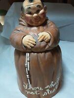 Vintage Twin Winton '60 Monk Friar Tuck Thou Shalt  Not Steal 12 Inch Cookie Jar