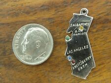 Vintage sterling silver CALIFORNIA STATE CRYSTAL JEWELED charm KNOTTSBERRY FARMS