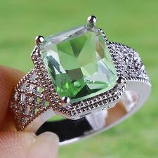 New Women Fashion Silver Peridot Wedding Engagement Ring Jewelry Gift Size 6-10