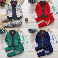 2pcs Toddler Kids Baby Boy T-shirt Tops Long Pants Trousers Outfit Gentleman Set