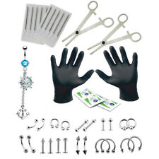 41Pcs Body Piercing Kit Needle Forcep Belly Nipple Eyebrow Nose Rings