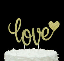 Love Heart Mr and Mrs Cake Topper - Wedding/ Anniversary/ Hen Party-Glitter Gold