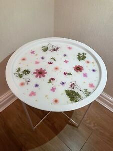 Handmade Bespoke Resin Tray Side Table - Pink floral and white