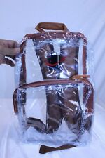 """Clear Stadium / Travel Backpack with Brown Trim Zip Close 16"""" x 12"""""""