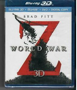 World War Z 3D&2D (Blu-ray 3D&2D/DVD/,2013,Unrated,3-Disc Set) NEW SEALED