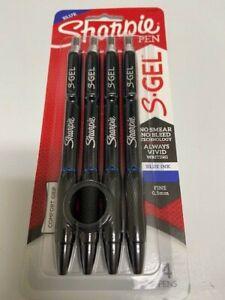 4 Sharpie S-Gel, Gel Pens, Fine Point (0.5mm), Blue Ink Gel Pen pack 2116200