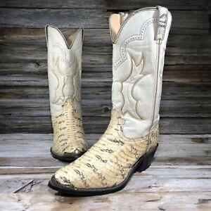 Durango 30342 Cream Snake Reptile Skin Western Boots Men US 9.5