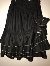 Nettoyer A Sec French Flamenco flare Asymmetrical black gold skirt size medium