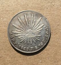 """MEXICO  SAN LUIS POTOSI MINT 1869-PiPS  """"CAP & RAYS""""  4 REALES SILVER COIN, XF+"""