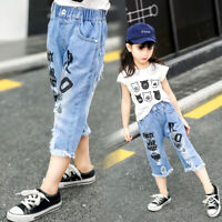 DIIMUU Toddler Baby Girls Pants Shorts Clothes Denim Cropped Trousers Clothing