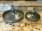 2 ANTIQUE CHROME PLATED BRASS CAKE LAYER HANGING CHANDELIER LIGHT FIXTURE PART