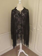 VGC WILDFOX GOLD LABEL BLACK LACE FRINGED SEQUIN RAM CAPE TOP SIZE XS
