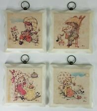 Set of 4 vintage boy girl wall plaques guitar flute instruments telephone phone