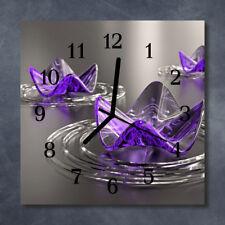 Glass Wall Clock Kitchen Clocks 30x30 cm silent Glass Flowers Purple