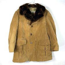 VINTAGE Cortefiel Rockabilly Corduroy Coat Mens 42 Brown Fur Collar Button Spain