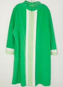 1960s Vintage Women's Vanity Fair Velour Robe Green Mod Zip Up Housecoat 42 /12