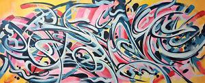 CANVAS Painting 50x120 cm original abstract art, original. green / yellow