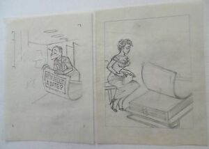 AL KILGORE Lot Of 2 pencil drawings 8 x 10 FLOOR COVERING WEEKLY Magazine AKd369