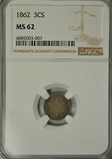 1862 3 cent silver, type 3, NGC MS62