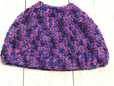 Soft Handmade Crochet Messy Bun / Ponytail Hat / Beanie Adult Size - Purple Mult