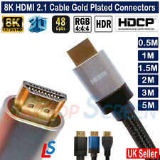 HDMI V2.1 Cable Lead For 8K 60hz HDR Ultra High Speed 48Gbps 0.5m 1m 2m 3m 5m