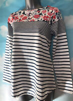 JOULES 8 BNWT Blue Multi Stripe Floral HARBOUR Jersey Long Sleeve T-shirt Top