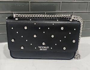 Victoria's Secret Pebbled Studded Crossbody Shoulder Bag Purse Black Sliver NWT