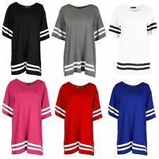 New Ladies Oversized Baggy Baseball Stripe Varsity College Jersey T Shirt Top