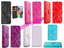 DIAMOND BLING DIAMANTE WALLET PU LEATHER CASE COVER POUCH FOR NEW MOBILE PHONES