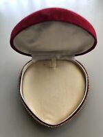 Red Heart Velvet Necklace Gift Box Vintage
