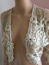 Topshop Vintage Style Lace Bolero Stunning! Size 10 Cotton Embroidered