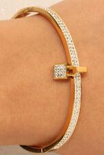 BEAUTIFUL 18K YELLOW GOLD FINISH DIAMOND BANGLE BRACELET 3 CARATS