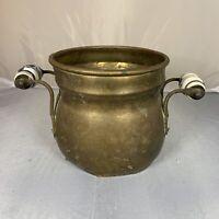 Antique Vintage Copper Brass Porcelain Handle Cauldron Pot Bowl Rustic Country