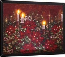 Christmas Poinsettia Lighted Framed Fiber Optic Canvas Wall Hanging w/Remote